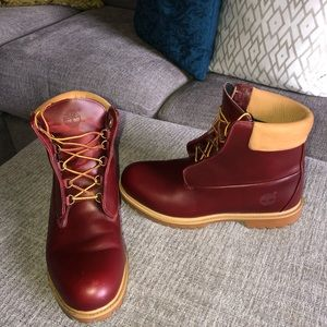 TIMBERLANDS LEATHER BURGUNDY 12 MENS